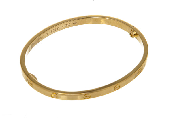 Cartier 18k Yellow Gold Love Bracelet, Small Model (Size 15)