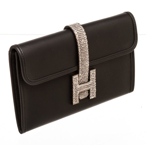 Hermes Black Swift Leather & Lizard Jige Duo Touch Wallet
