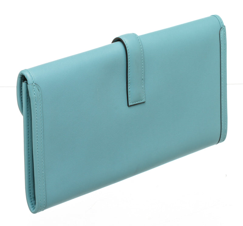 Hermes Jige Blue Saint Cyr Leather Clutch