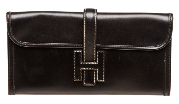 Vintage Black Leather Hermes Jige 29cm