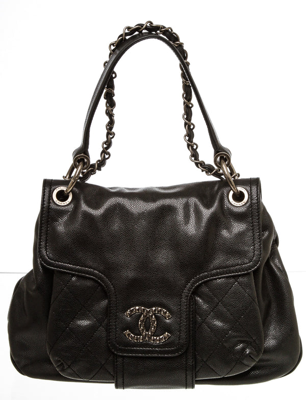 Chanel Black Caviar 'Coco Rider' Shoulder Bag