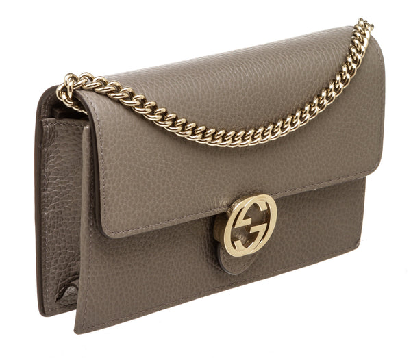 Gucci Taupe Gray Interlocking GG Leather Wallet on Chain