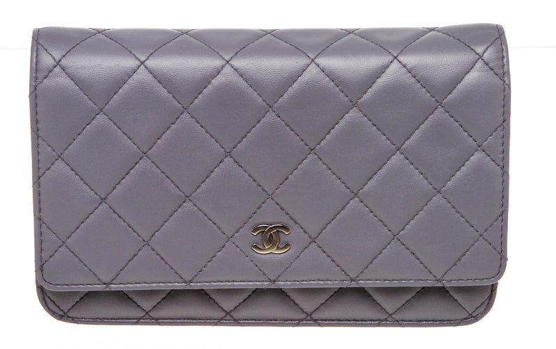 Chanel Gray Quilted Lambskin Leather Wallet On A Chain WOC