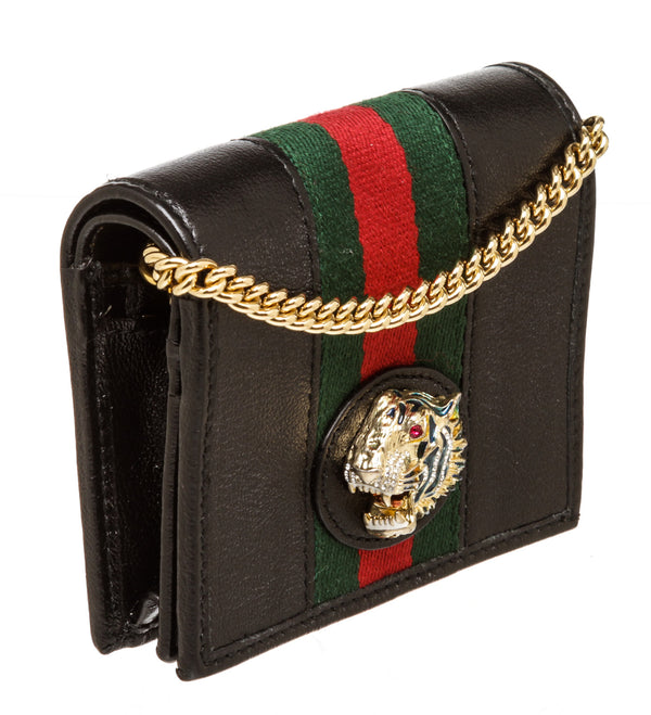 Gucci Black Leather Rajah Wallet with Chain