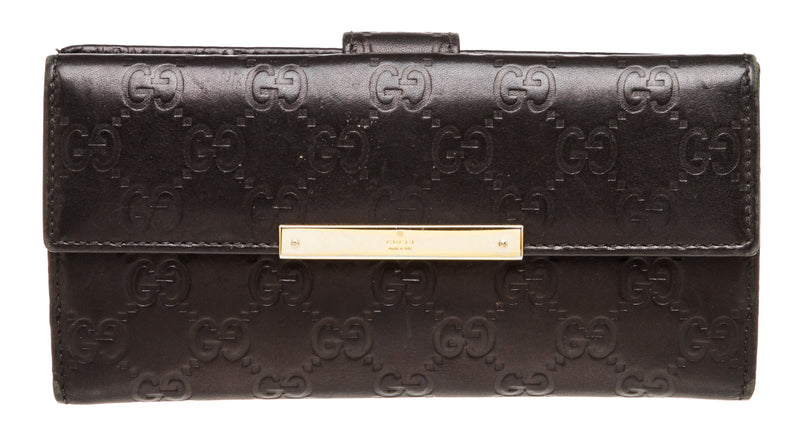 Gucci Black Leather Monogram Long Wallet