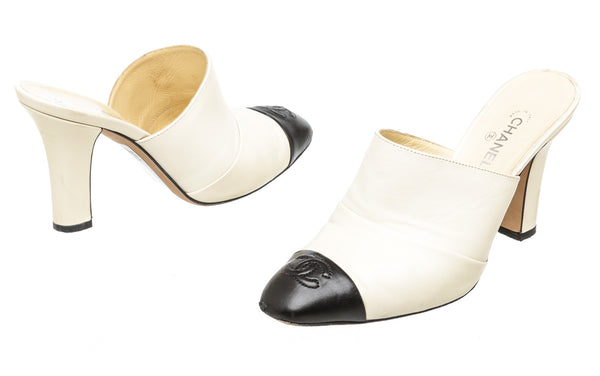 Chanel Cream Captoe Mules (Size 36.5)