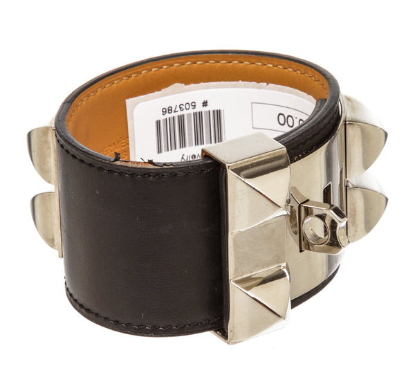 Hermes Black Leather CDC Cuff Silver Hardware