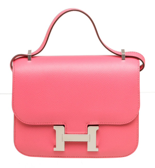 Hermes 18cm Rose Azalee Constance Shoulder Bag Palladium Hardware