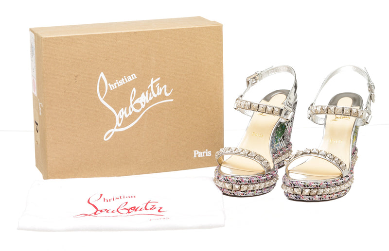 Louboutin Wedge Sandals Silver Pira Ryad Sequin Splash Wedge Sandals (41)