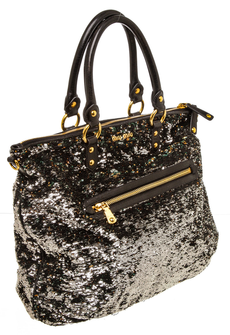 Miu Miu Multicolor Sequin Embellished Tote Bag