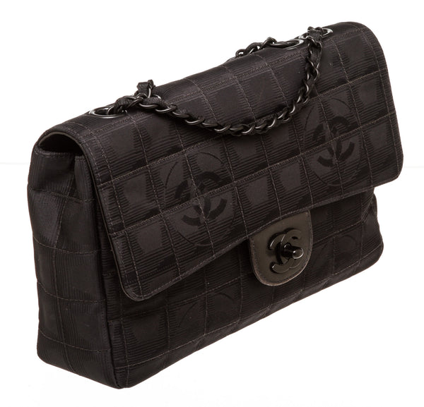 Chanel Black Nylon East West Flap Bag