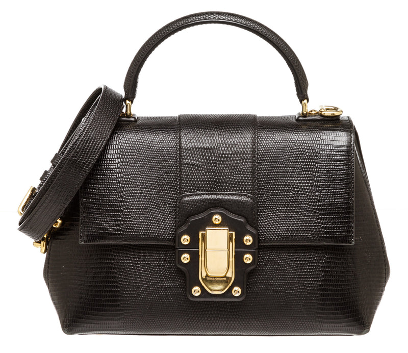 Dolce & Gabbana Black Lizard Effect Leather Lucia Bag