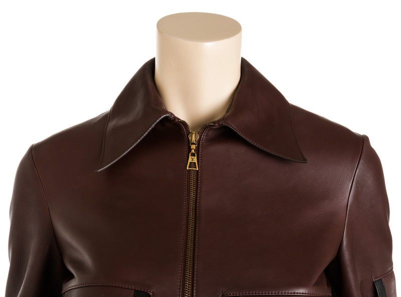 Louis Vuitton Cropped Leather Jacket (Size 36)