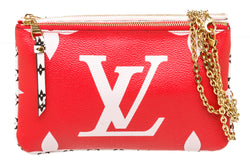 Louis Vuitton Red & White Monogram Giant Double Zip Pochette