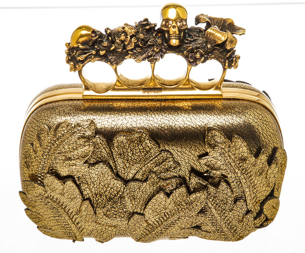 Alexander McQueen Gold Leather  3D Leaves Knuckle Box Clutch