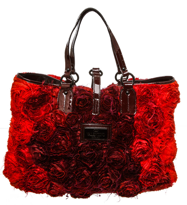 Valentino Red Ombre Silk Organza Rosier Tote Bag