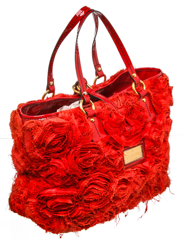 Valentino Red Silk Organza Rosier Tote Bag