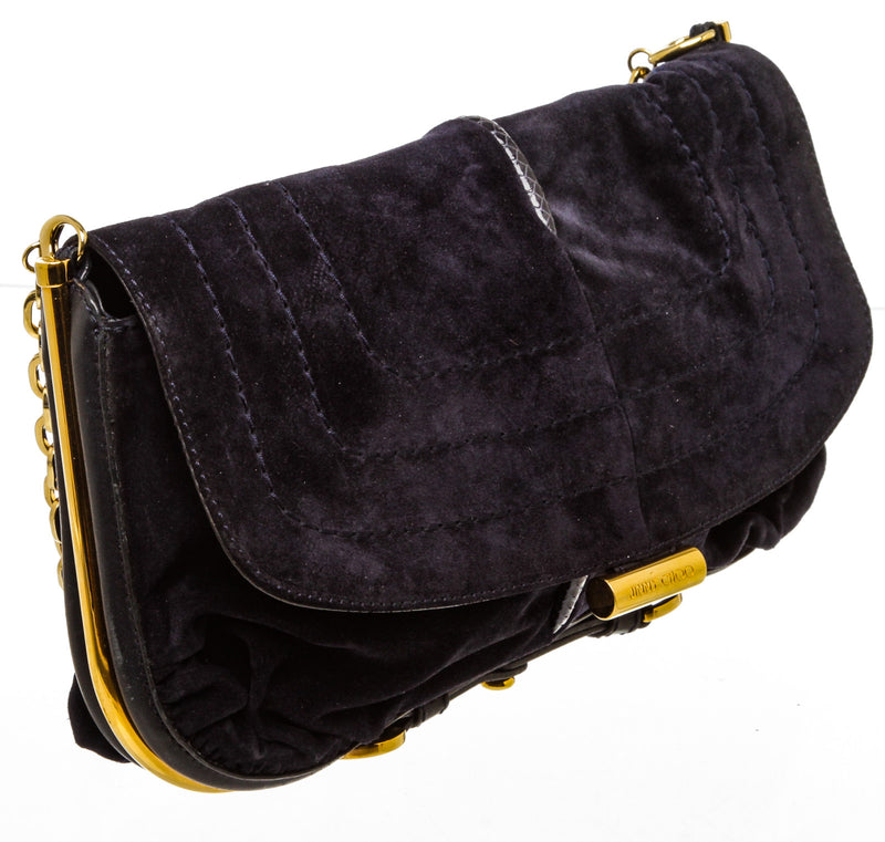 Jimmy Choo Navy Blue Suede Shoulder Bag