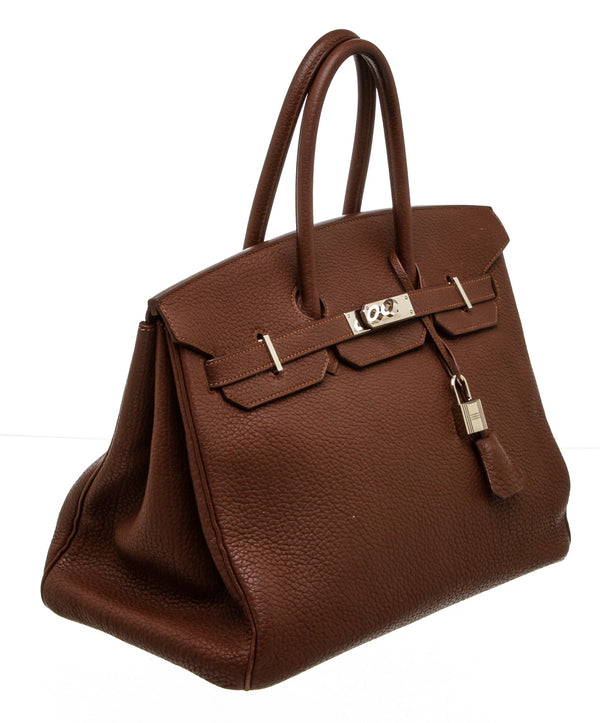 Hermes Brown Togo Leather Birkin 35cm Bag PHW