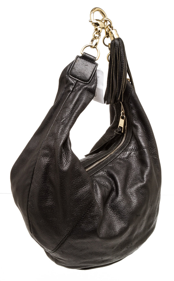 Gucci Black Leather Hobo Bag