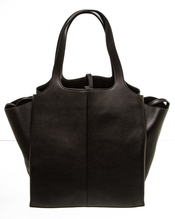 Celine Black Leather Tri-Fold Tote Bag