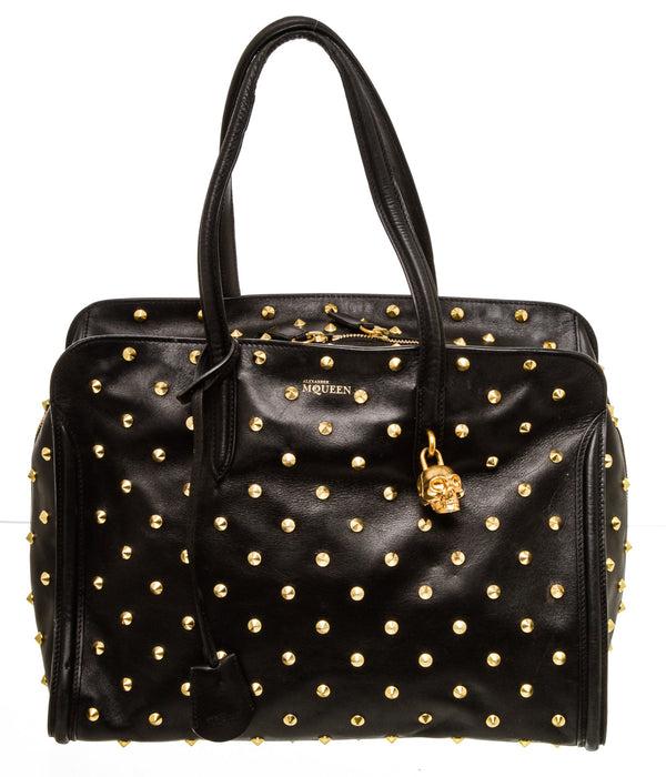 Alexander McQueen Black Leather Padlock Studded Zip Satchel