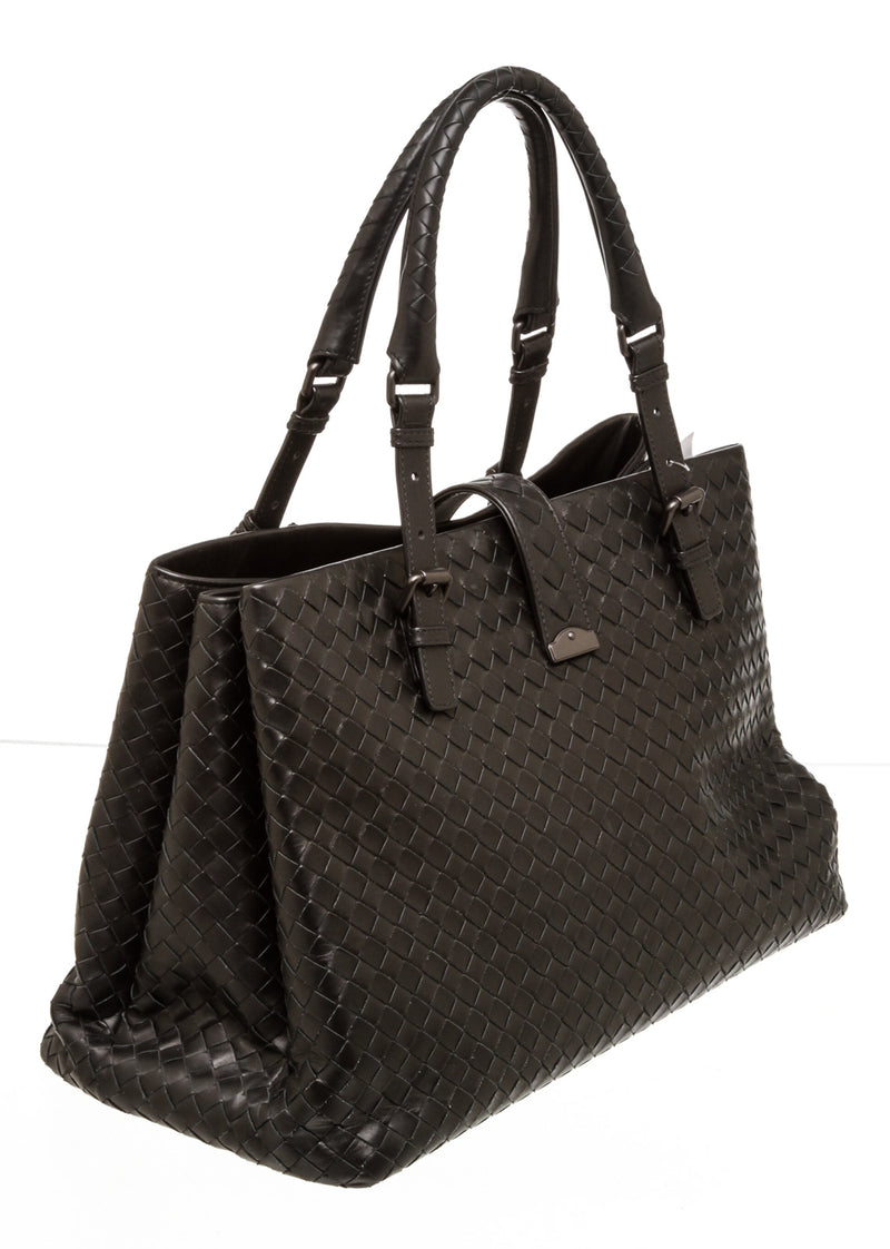 Bottega Venetta Black Woven Leather Roma Tote Bag