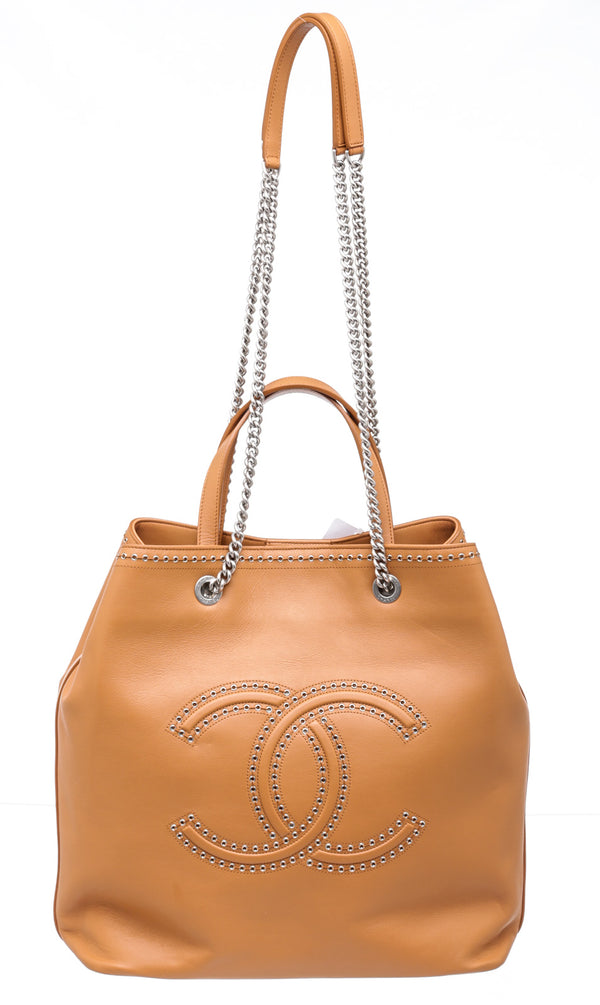 Chanel Tan Leather Coco Eyelets Tote 2018