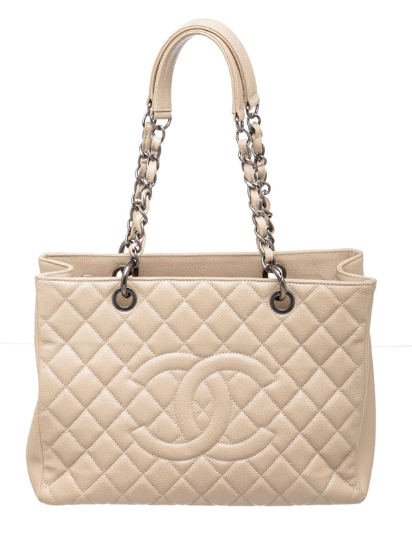 Chanel Beige Caviar Leather Grand Shopping Tote GST Bag