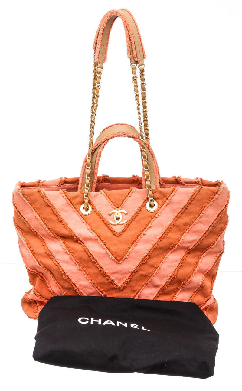Chanel Orange Peach Canvas Paris Cuba Twist Tote GHW