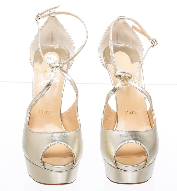 Christian Loboutin Gold Metallic Peep Toe Platform Sandals (Size 39.5)
