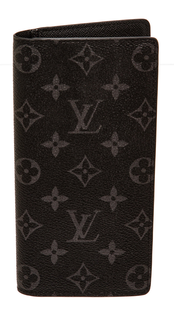 Louis Vuitton Black and Gray Monogram Eclipse Canvas Brazza Wallet