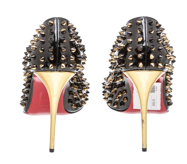 Christian Louboutin Black Patent Leather Spike 120 Heels (Size 40.5)