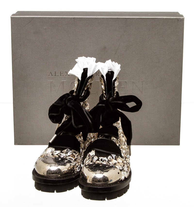 Alexander McQueen Black Leather Embellished A/W 14 Combat Boots (Size 37)