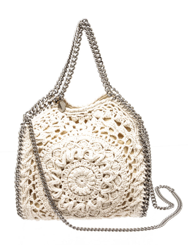 Stella McCartney Cream Crochet Knit Falabella Bag