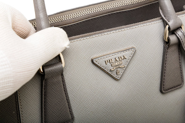 Prada Gray Two Tone Saffiano Leather Galleria Tote Bag