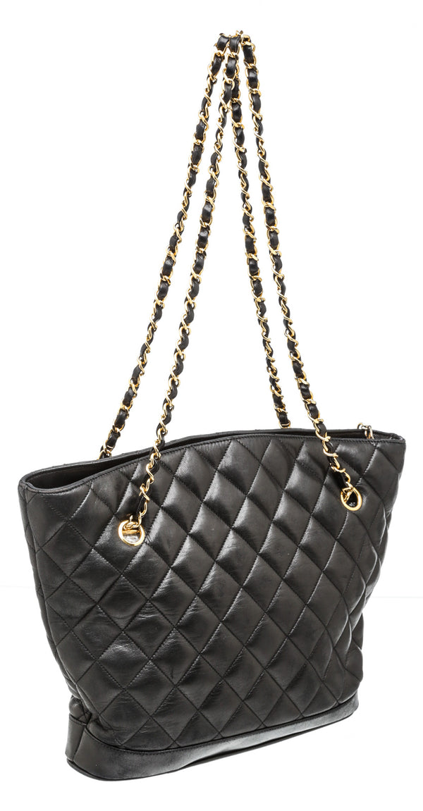 Chanel Black Lambskin Quilted Vintage Bag GHW