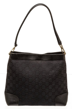Gucci Black Monogram Hobo Bag