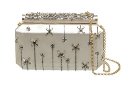 Oscar de la Renta Silver Embellished Satin Clutch Bag