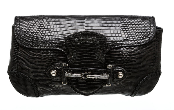 Gucci Black Lizard Swarovski Horsebit Clutch Bag