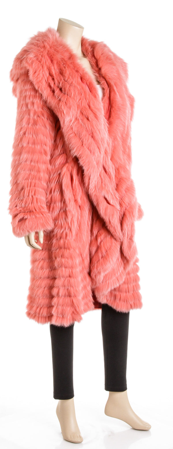 Escada Pink Shadow Fox Fur Cocoon Coat (Size 36)