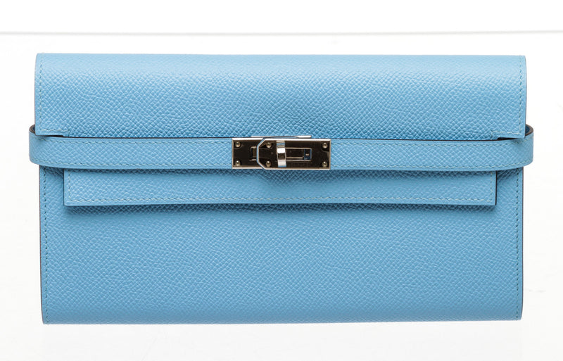 Hermes Blue Kelly Wallet Palladium Hardware