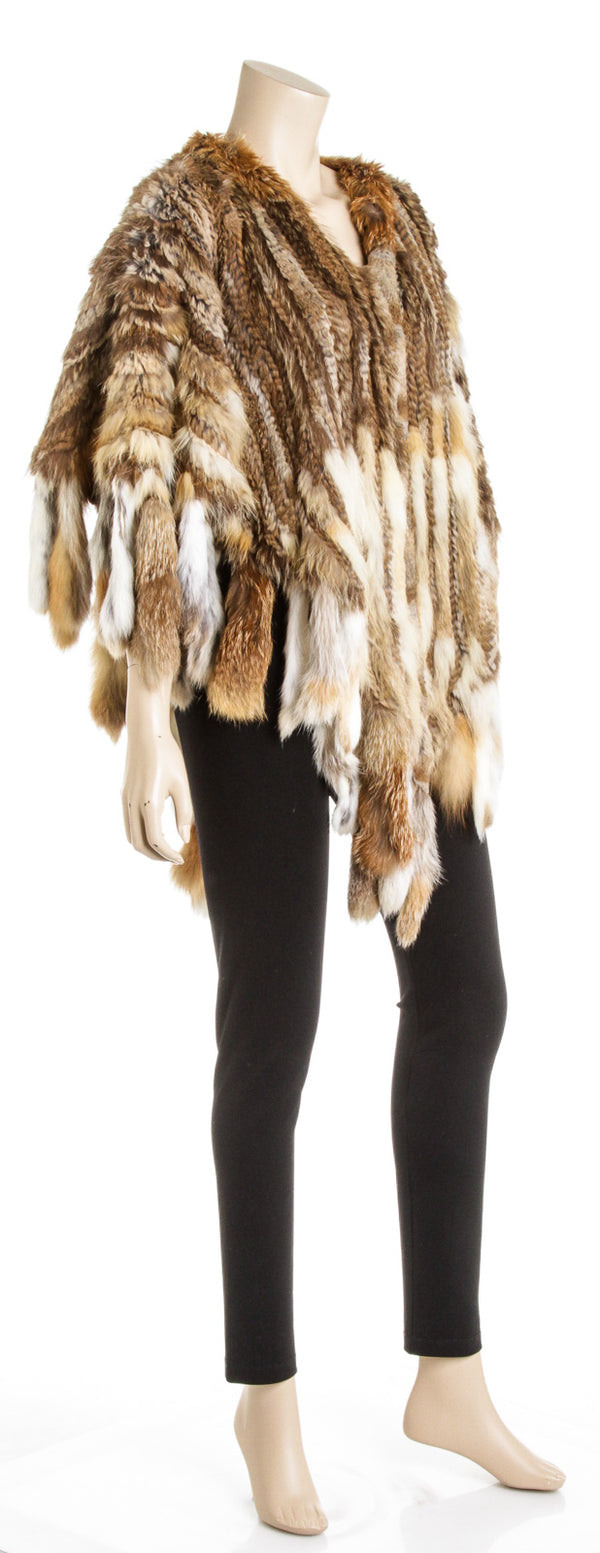 Escada Sport Brown Rabbit, Raccoon and Fox Fur Shawl