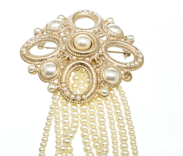 Chanel Gold and Pearl Brooch
