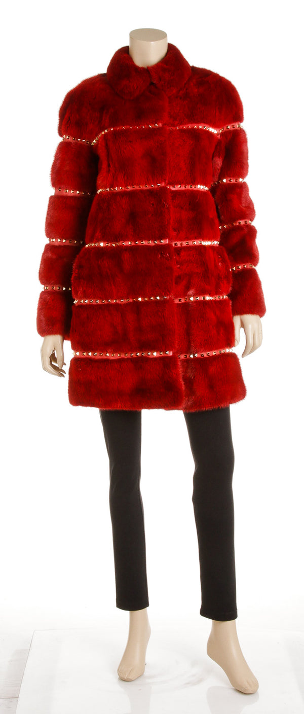 Valentino Red Rockstud Fur Coat (Size 42)