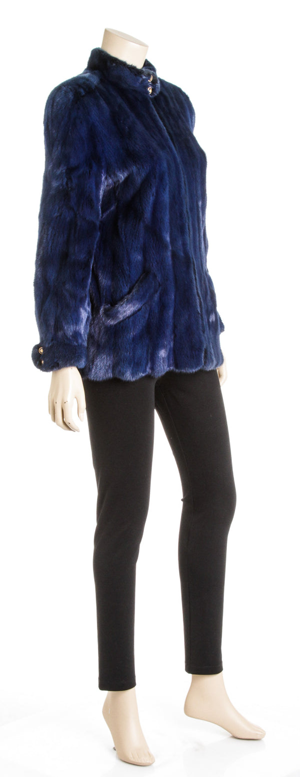 Saks Fifth Avenue Royal Blue Fox Fur Long Sleeve Zip-Front Jacket (Size M)