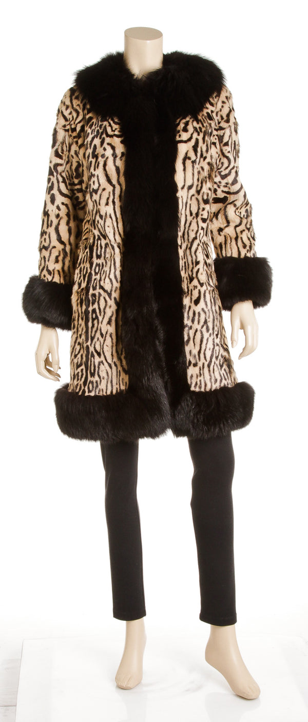 Escada Leopard-Print Mink with Fox Fur Trim Coat (Size 38)