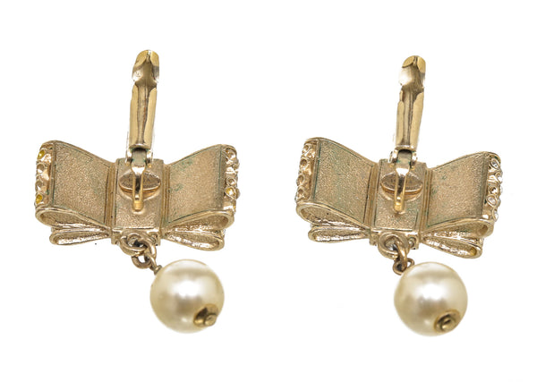 Chanel Gold Crystal Bow Pearl Drop Earrings