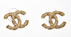 Chanel Gold Twisted CC Earrings