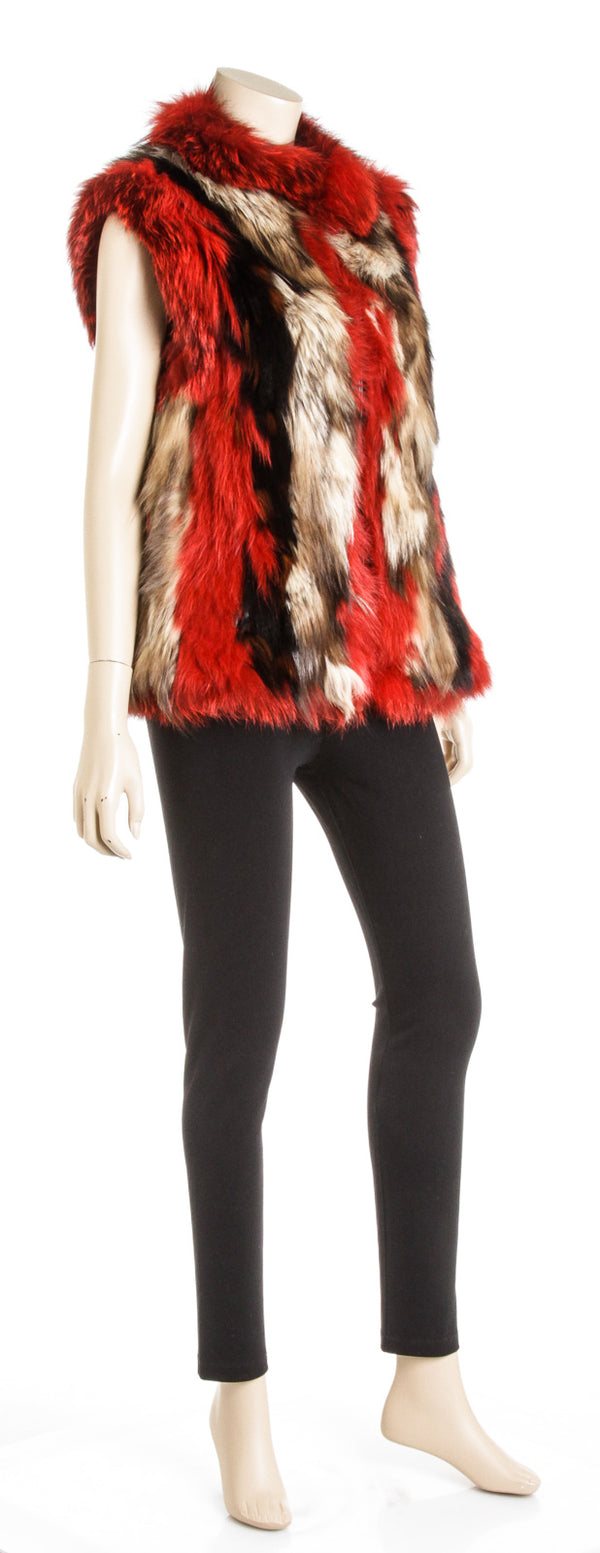 Escada Red Multicolor Fox Fur Vest (Size 40)